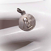 C.1900 FRENCH Silverplate Charm/Medal - Girl at Her First Communion!