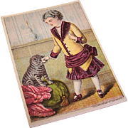 Sweet ANTIQUE VICTORIAN Trade Card - Little Girl with Cat!