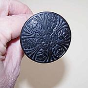 ANTIQUE EDWARDIAN Hat Pin - Black Engraved Floral Top!