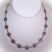 Vintage STERLING SILVER Floral Link Necklace!