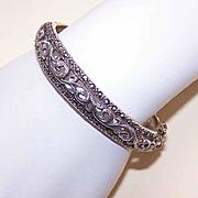 Vintage STERLING SILVER & Marcasite Hinged Bangle Bracelet!