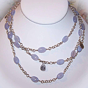 """Interesting VINTAGE Sterling Silver & Blue Chalcedony 48"""" Necklace!"""