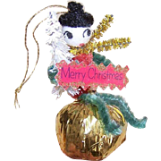 SOLD 1960s CHRISTMAS Ornament - Made in Japan Chenille Elf!