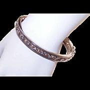 Stunning STERLING SILVER & Cubic Zirconia Hinged Bangle Bracelet!
