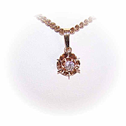 Vintage 14K Gold & .15CT Diamond Pendant (Buttercup Setting)!