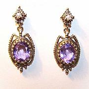 Scrumptious VICTORIAN REVIVAL 14K Gold & 6 CT TW Amethyst Drop Earrings!