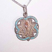 Dated 1897 FRENCH 800/900 Silver, Gold & Enamel First Communion Charm/Pendant!