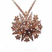 ANTIQUE VICTORIAN 18K Gold, Diamond & Natural Pearl Starburst Pendant/Pin!