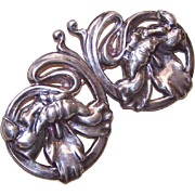 Interesting RETRO MODERN Silverplate Pin/Brooch - Pair of Orchids!