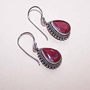 Vintage Bali STERLING SILVER & Faceted Ruby Drop Earrings!