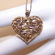 Vintage STERLING SILVER Vermeil Heart Pendant with Italian Chain (Necklace)!