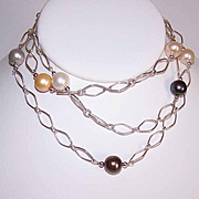 Vintage STERLING SILVER Chain Necklace with Freshwater Pearl Spacers!