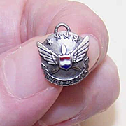 Vintage STERLING SILVER & Enamel Pin/Charm for United Airlines!