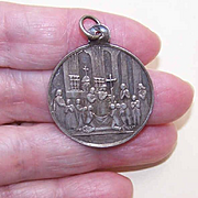 Undated ANTIQUE VICTORIAN French Silver First Communion Charm, Medal or Pendant