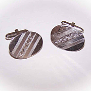 Retro Modern STERLING SILVER Oval Cufflinks with Engraved Design!