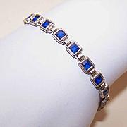 ART DECO Sterling Silver & Blue Rhinestone Link Bracelet!
