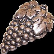 Vintage ART DECO Silverplate Dress Clip/Fur Clip - A Bunch of Grapes!
