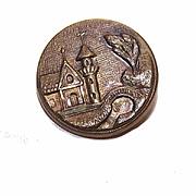 ANTIQUE VICTORIAN Metal Button - Medieval Castle Scene!
