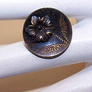 ANTIQUE VICTORIAN Metal Button - One Single Flower!