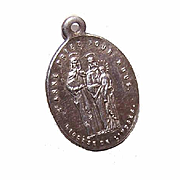 Antique Edwardian FRENCH SILVERPLATE Religious Medal - Saint Anne & The Infant Virgin Mary!