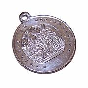Antique Edwardian FRENCH SILVERPLATE Religious Medal - Souvenir de Confirmation!