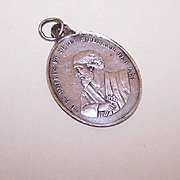 SOLD Antique Victorian FRENCH SILVER Religious Medal - Saint Peter & The Keys to Heaven!