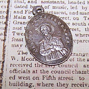 Dated 1881 FRENCH SILVERPLATE Religious Medal - Saint Benedict Joseph Labre!