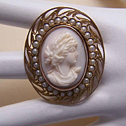 ANTIQUE EDWARDIAN 10K Gold, Glass Pearl & Pink Shell Cameo Pin/Pendant!