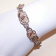 Vintage STERLING SILVER & Rose Gold Vermeil Link Bracelet!