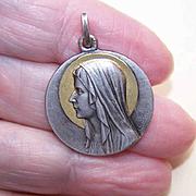Vintage FRENCH Silverplate Religious Medal/Pendant - Virgin Mary/Saint Bernadette!