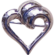 Small 1950s STERLING SILVER Heart Shaped Pin/Brooch by BEAU!