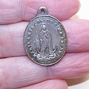 Vintage FRENCH Silverplate Religious Medal/Pendant - Virgin Mary!