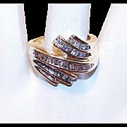 Stunning ESTATE 10K Gold & 1 CT TW Diamond Bypass Ring!