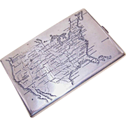 Vintage STERLING SILVER Cigarette Case with Map of the USA on the Front!