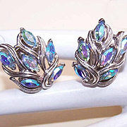 Vintage SILVER TONE Metal & Blue Rhinestone Clip Earrings by Trifari!