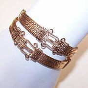 """Hand Made Set of C.1920 Gold Filled """"Hook & Eye"""" Bangle Bracelets!"""