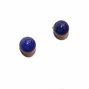Vintage 14K Gold & 5.5mm Lapis Lazuli Orb Pierced Earrings (Studs)!