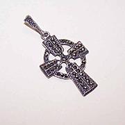 Vintage STERLING SILVER & Marcasite Celtic Cross Pendant!