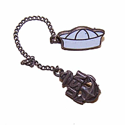Vintage US NAVY Sterling Silver & Enamel Sweetheart Pin - USN Insignia & Sailor Hat!