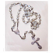 Vintage Holy Land/European SILVER & Mother of Pearl Rosary!