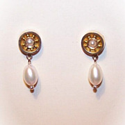 ANTIQUE VICTORIAN 14K Gold & Cultured Pearl Earrings!