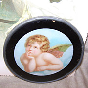 C.1910 Metal and Glass Flue Cover of Raphael's Cupid!