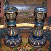 Stunning Pair of C.1920  ITALIAN Composition Candlesticks!