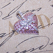 Stunning STERLING SILVER and Pink/White Rhinestone Heart Pendant!