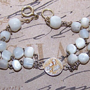 Vintage FRENCH SILVER and Mother of Pearl Religious Bracelet/Dizainier!