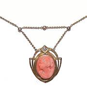 ANTIQUE VICTORIAN 14K Gold, Diamond & Coral Cameo Necklace!