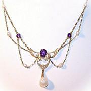 ANTIQUE EDWARDIAN 14K Gold, Amethyst & Natural Seed Pearl Festoon Necklace!