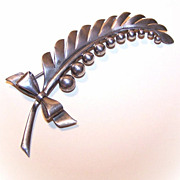 Retro Modern 1950s STERLING SILVER Pin/Brooch - Lily of the Valley!