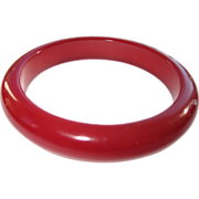 SOLD Cranberry Translucent Marbled Sliced Bakelite Bangle Bracelet
