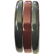 Pair of Dark Blue Marbled Bakelite Bangle Bracelets